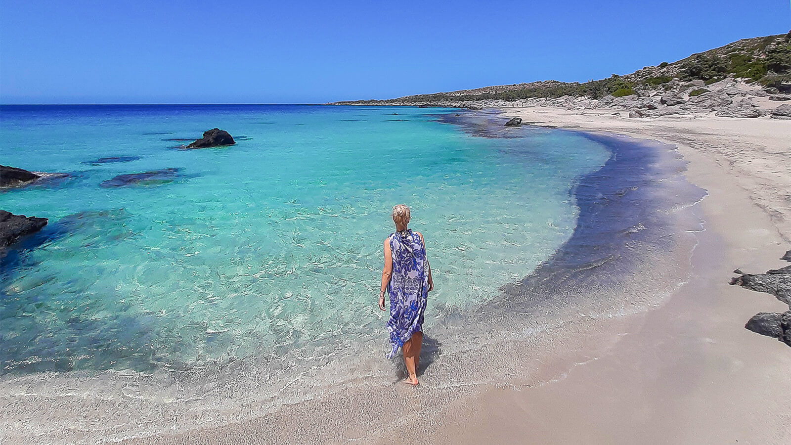 Elafonisi (Elafonissi) paplūdimys: pėsčiomis į salą