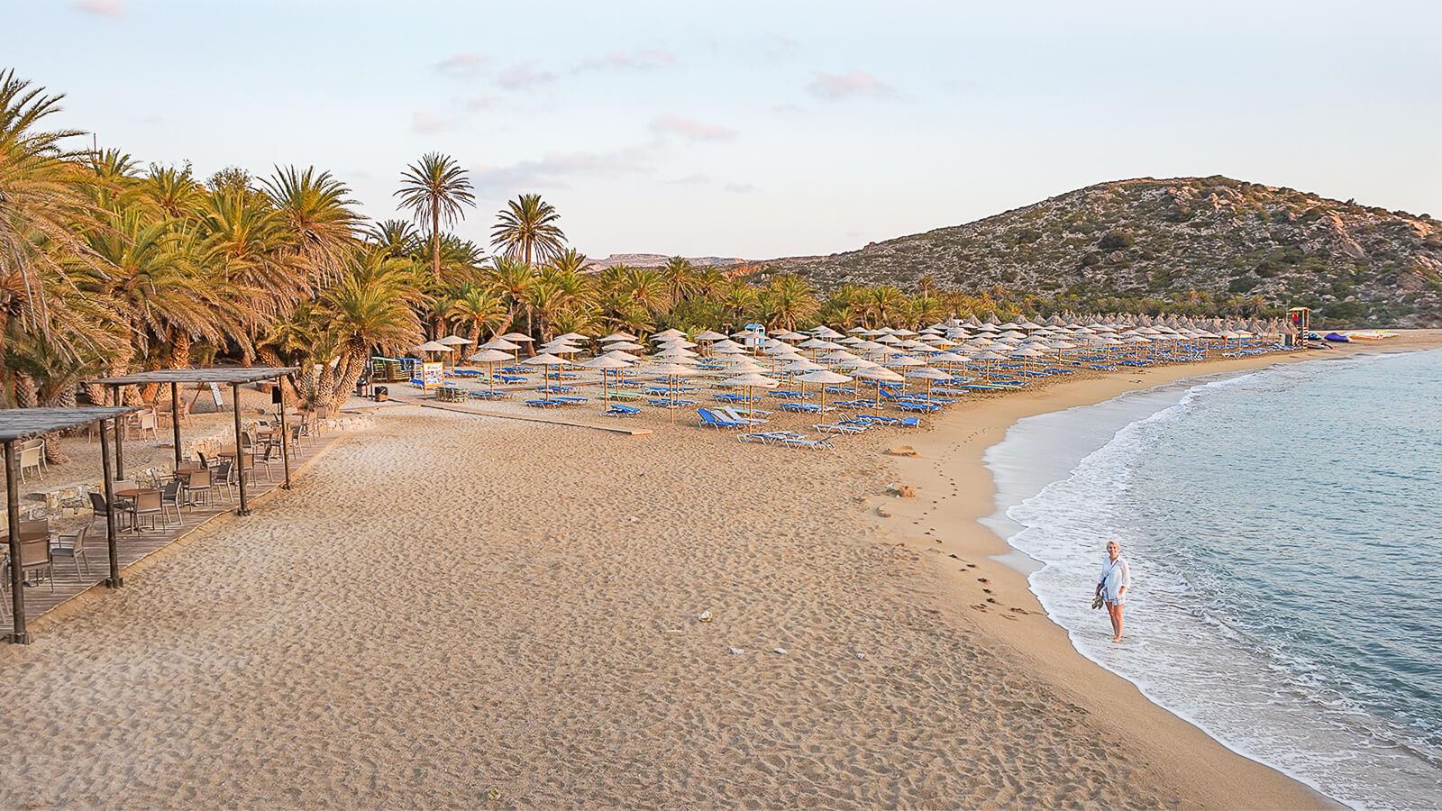 Vai – kretietiškų datulinių palmių paplūdimys rytų Kretoje
