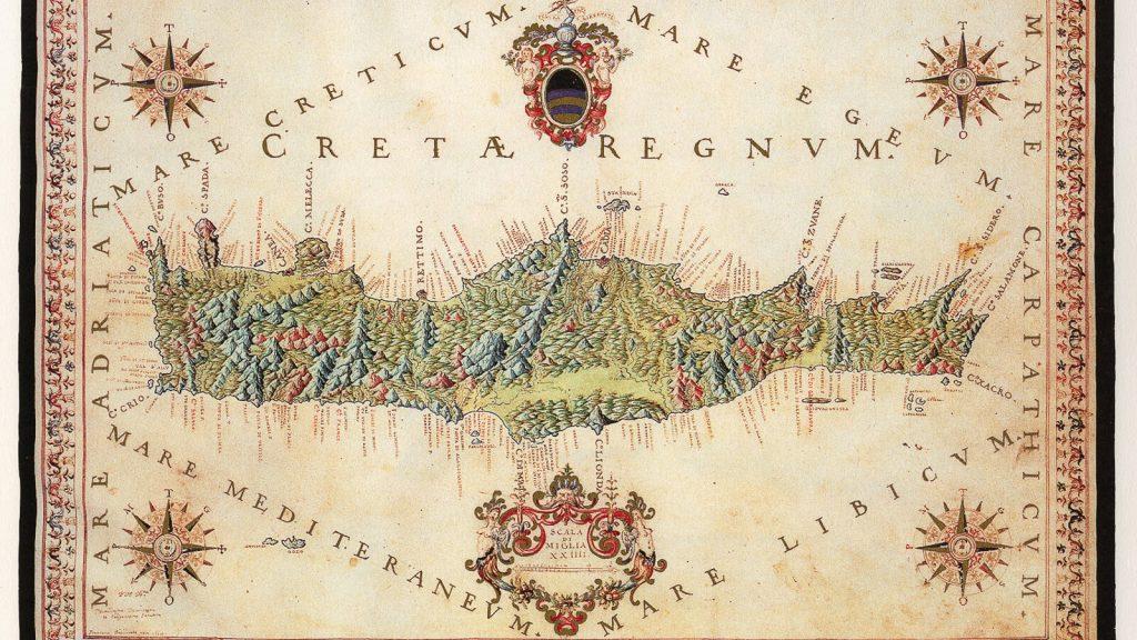 XVII amžiaus venecijietiškas Kretos žemėlapis. Kreta, Graikija | Mano Kreta
